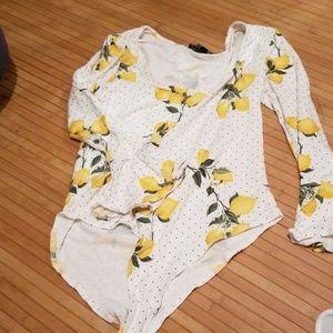 Lemon polka dot bodysuit
